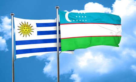 bandera de uruguay: bandera de Uruguay con la bandera de Uzbekist�n, 3D Foto de archivo