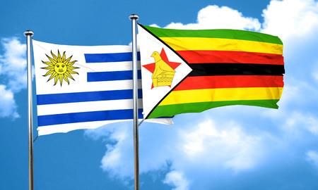 bandera uruguay: bandera de Uruguay con la bandera de Zimbabwe, 3D