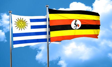 bandera uruguay: bandera de Uruguay con la bandera de Uganda, 3D