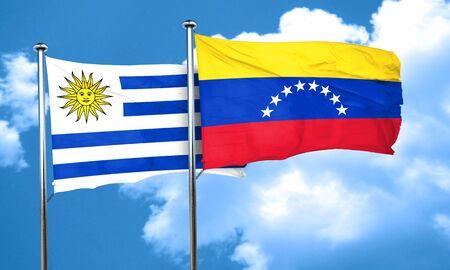 venezuela flag: Uruguay flag with Venezuela flag, 3D rendering