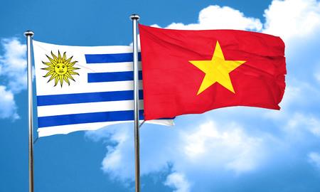bandera de uruguay: bandera de Uruguay con la bandera de Vietnam, 3D