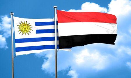 bandera de uruguay: bandera de Uruguay con la bandera de Yemen, 3D Foto de archivo