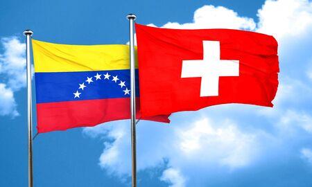 bandera de venezuela: bandera de Venezuela con la bandera Suiza, 3D Foto de archivo