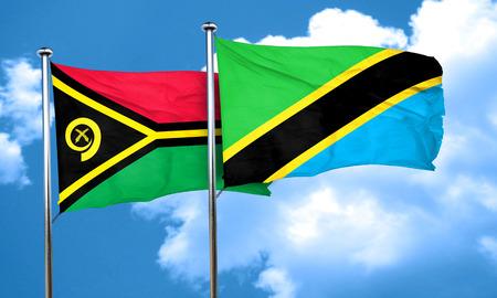 tanzania: Vanatu flag with Tanzania flag, 3D rendering Stock Photo