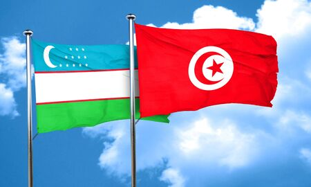 tunisia: Uzbekistan flag with Tunisia flag, 3D rendering Stock Photo
