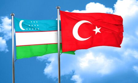 3d turkey: Uzbekistan flag with Turkey flag, 3D rendering Stock Photo