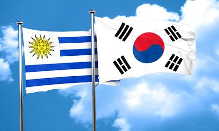 bandera de uruguay: bandera de Uruguay con la bandera de Corea del Sur, 3D Foto de archivo