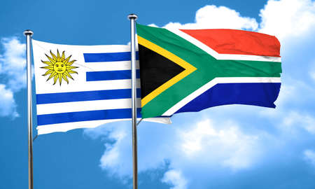 uruguay flag: Uruguay flag with South Africa flag, 3D rendering Foto de archivo
