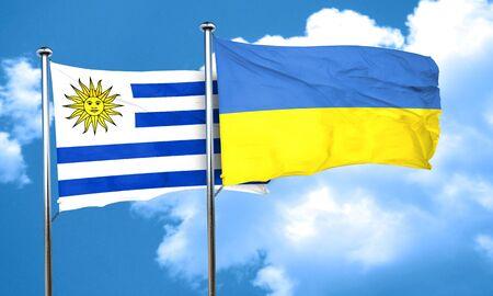 bandera de uruguay: bandera de Uruguay con la bandera de Ucrania, 3D