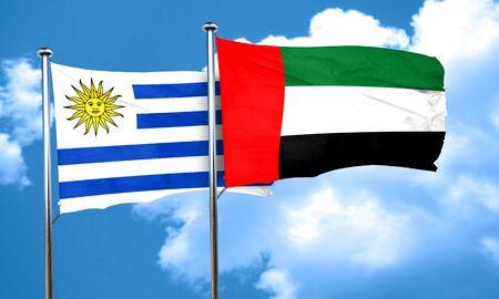 bandera de uruguay: bandera de Uruguay con la bandera de EAU, representación 3D