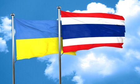 ukraine flag: Ukraine flag with Thailand flag, 3D rendering Stock Photo