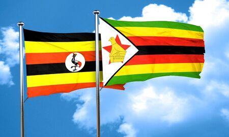 zimbabwe: bandera de Uganda con la bandera de Zimbabwe, 3D