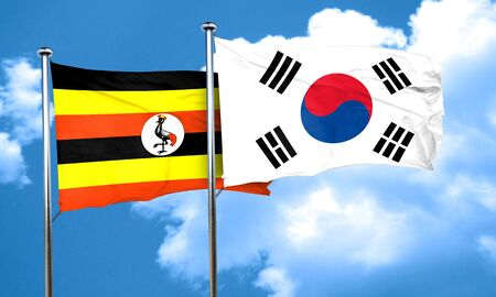 ugandan: Uganda flag with South Korea flag, 3D rendering