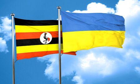 ukraine flag: Uganda flag with Ukraine flag, 3D rendering