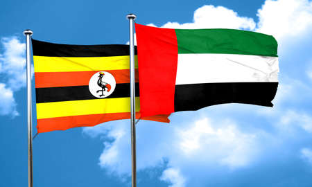 ugandan: Uganda flag with UAE flag, 3D rendering