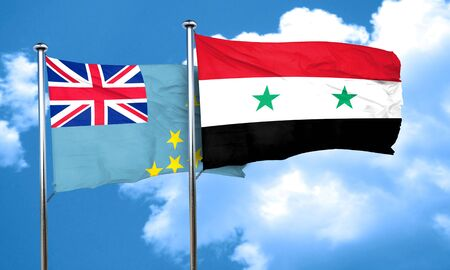 nationality: Tuvalu flag with Syria flag, 3D rendering Stock Photo