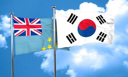 korea flag: Tuvalu flag with South Korea flag, 3D rendering