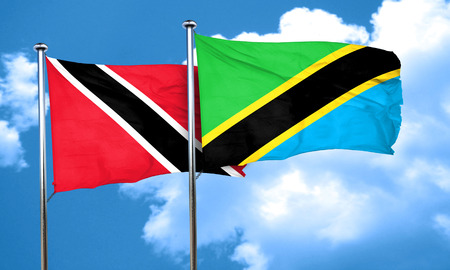 trinidad and tobago: Trinidad and tobago flag with Tanzania flag, 3D rendering