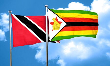 trinidad and tobago: Trinidad and tobago flag with Zimbabwe flag, 3D rendering