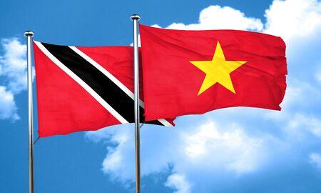 vietnam flag: Trinidad and tobago flag with Vietnam flag, 3D rendering