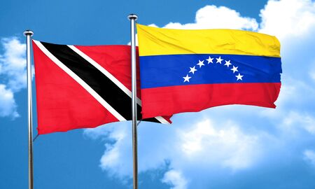 trinidad and tobago: Trinidad and tobago flag with Venezuela flag, 3D rendering