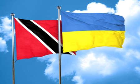 tobago: Trinidad and tobago flag with Ukraine flag, 3D rendering