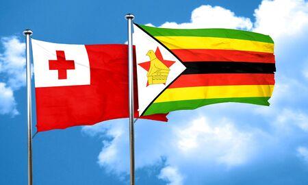 zimbabue: bandera de Tonga con la bandera de Zimbabwe, 3D Foto de archivo