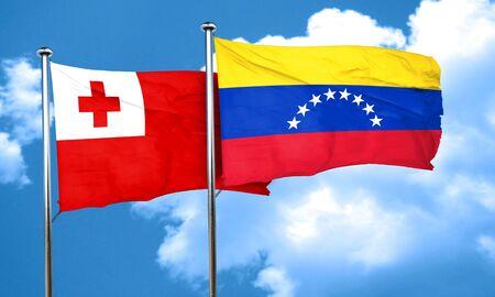 bandera de venezuela: bandera de Tonga con la bandera de Venezuela, 3D Foto de archivo
