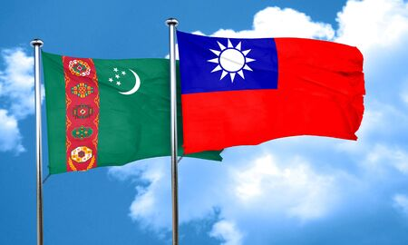 turkmenistan: Turkmenistan flag with Taiwan flag, 3D rendering Stock Photo