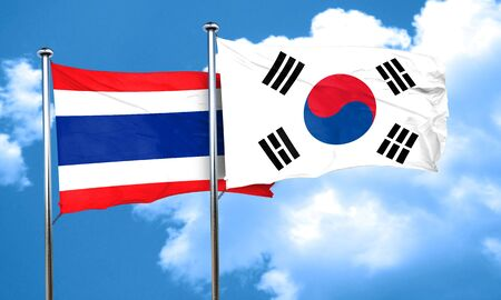 Thailand flag with South Korea flag, 3D rendering