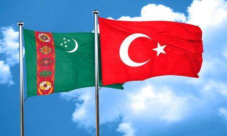 3d turkey: Turkmenistan flag with Turkey flag, 3D rendering