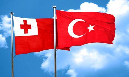tonga: Tonga flag with Turkey flag, 3D rendering