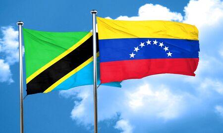 bandera de venezuela: bandera de Tanzania con la bandera de Venezuela, 3D
