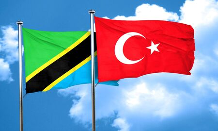 turkey flag: Tanzanian flag with Turkey flag, 3D rendering