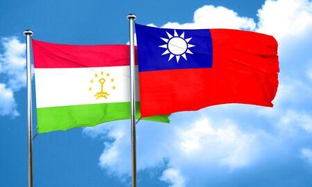 tajikistan: Tajikistan flag with Taiwan flag, 3D rendering