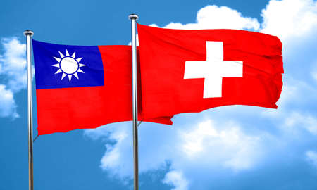 switzerland flag: Taiwan flag with Switzerland flag, 3D rendering