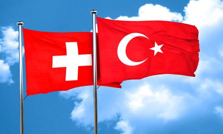turkey flag: switzerland flag with Turkey flag, 3D rendering