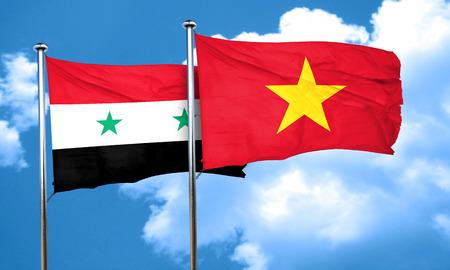 vietnam flag: Syria flag with Vietnam flag, 3D rendering