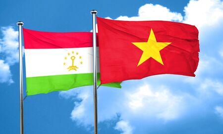 vietnam flag: Tajikistan flag with Vietnam flag, 3D rendering