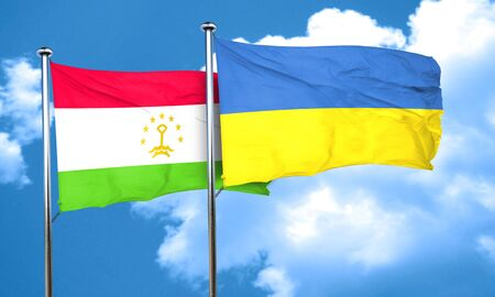 tajikistan: Tajikistan flag with Ukraine flag, 3D rendering