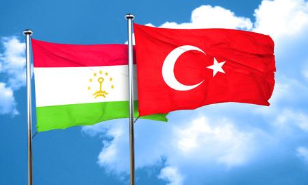 tajikistan: Tajikistan flag with Turkey flag, 3D rendering