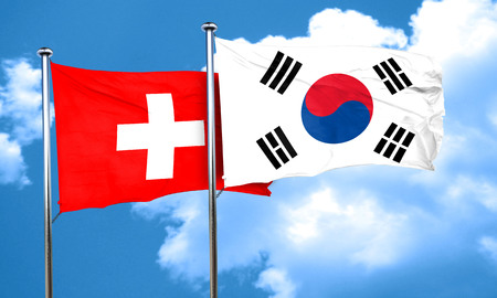 switzerland flag with South Korea flag, 3D rendering