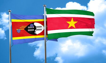 suriname: Swaziland flag with Suriname flag, 3D rendering Stock Photo