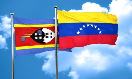 bandera de venezuela: Bandera de Swazilandia con bandera de Venezuela, 3D Foto de archivo