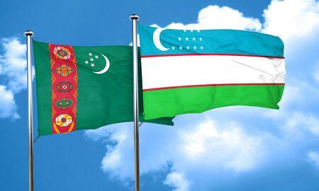 uzbekistan: Turkmenistan flag with Uzbekistan flag, 3D rendering