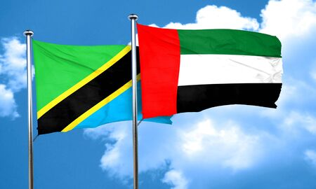 uae: Tanzanian flag with UAE flag, 3D rendering