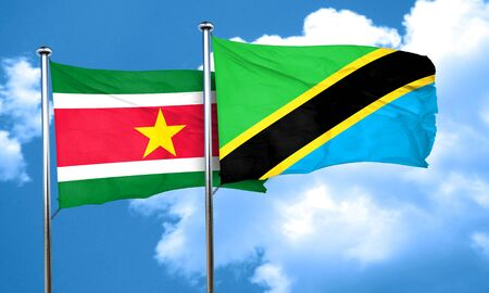 suriname: Suriname flag with Tanzania flag, 3D rendering