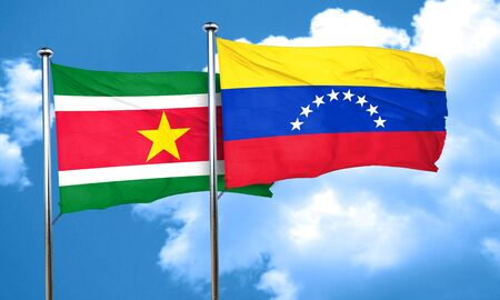 venezuela flag: bandera de Surinam con la bandera de Venezuela, 3D Foto de archivo