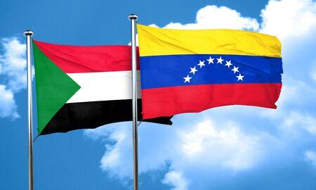 venezuela flag: bandera de Sud�n con la bandera de Venezuela, 3D