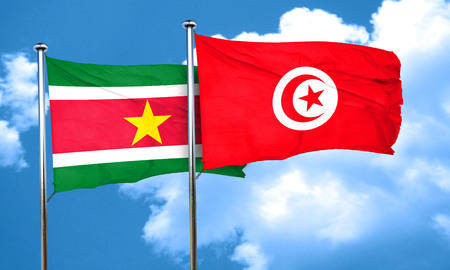suriname: Suriname flag with Tunisia flag, 3D rendering